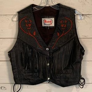 Route 66 Lined Black Leather Snap Vest With Fringe